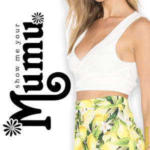 SMYM Conga Wrap Top Crop White Laguna Crinkle